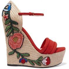 Gucci Appliquéd suede wedge espadrille sandals (1 080 BGN) ❤ liked on Polyvore featuring shoes, sandals, gucci, wedges, summer sandals, platform wedge sandals, espadrille sandals, suede sandals and wedge shoes #sandalsheelssummer