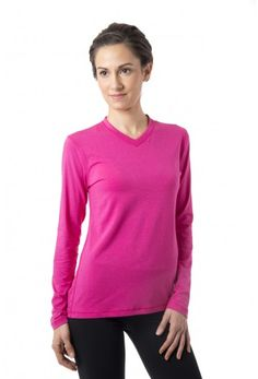 Performance V Long Sleeve - Women's long sleeve workout shirt in fruit punch pink