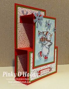 Best 11 Pinky's World Stampin' Projects: Shelf shape Christmas card – SkillOfKing. 3d Christmas, Homemade Christmas Cards, Christmas Cards To Make, Xmas Cards, Handmade Christmas, Homemade Cards, Holiday Cards, Christmas Ideas, Christmas Decoupage