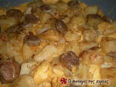 Μια πολύ νόστιμη ομελέτα με βραστές πατάτες, απάκι και πιπεριές. Dessert Recipes, Desserts, Greek Recipes, Macaroni And Cheese, Eggs, Meat, Dinner, Greek Beauty, Cooking