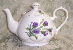 Fluted 6-Cup Bone China Teapot with Highland Thistle