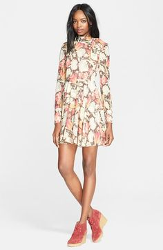RED Valentino Vintage Floral Print Stretch Silk Dress available at #Nordstrom