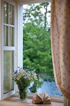 Ana Rosa / open window on a breezy day / country living / sweet and simple Window View, Open Window, Ventana Windows, Sweet Home, Looking Out The Window, Through The Window, Windows And Doors, Cottage Style, Cozy Cottage