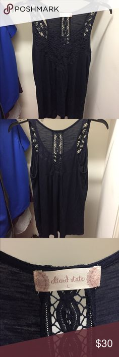 Navy Altard State sleeveless crochet shirt This navy blue sleeveless shirt has only been worn once. I wore it for my senior pictures, then has sat in my closet. Altar'd State Tops Tank Tops