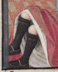 Medieval Stockings, late 15th century. Detail from Le Roman de la Rose Made for Louise of Savoy.