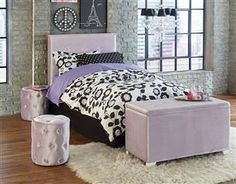 Young Parisian Pink Twin Upholstered Headboard w/Bench & Ottoman
