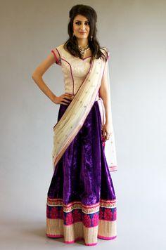 Purple silver white velvet lehenga by Red Paisley Raw Silk Lehenga, Pink Lehenga, Net Lehenga, White Velvet, Purple Velvet, Corset Style Tops, South Indian Sarees, Silk Skirt, Red Silk