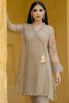 Stitching Styles Of Pakistani Dresses Grey Angrakha Style