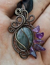 Copper Wire Wrapped Pendant Apatite Gemstone by Perfect… na Stylowi.pl