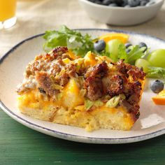 Green Chile Brunch Bake It's easy to make this ahead in a inch pan. It's filling, perfect for a crowd, and helps busy moms out. Make Ahead Breakfast Casserole, Breakfast Bake, Breakfast Dishes, Breakfast Recipes, Breakfast Strata, Breakfast Ideas, Brunch Ideas, Dinner Ideas, Overnight Breakfast