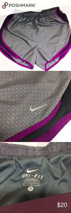 Nike Dri Fit Womens Athletic Shorts Small Nike Dri Fit Shorts  Small  Gray, purple, black  Elastic waist  Waist 12 laying flat unstretched  Inseam 3  Built in panty Nike Shorts