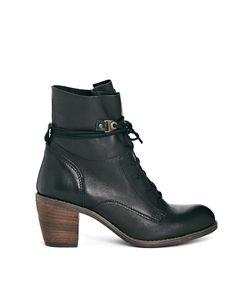 Steve Madden | Steve Madden Gretchen Black Leather Heeled Ankle Boots at ASOS