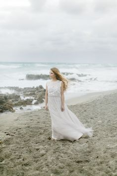 Bridal Beauty by Agape Airbrush Makeup and Hair @ Coastal Winter Wedding by Karla Korn Photography, Botanical Bliss, and Rockstar Catering + Event Co. Dress by BHLDN.