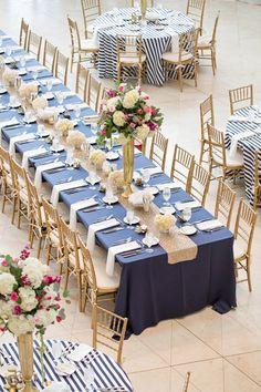 Navy and Blush Pink Wedding Centerpieces - Bing images Navy Blue And Gold Wedding, Gold Wedding Theme, Nautical Wedding, Wedding Table, Wedding Colors, Navy Pink, White Gold, Gold Wedding Decorations, Wedding Centerpieces