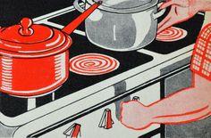 vintage stove illustration