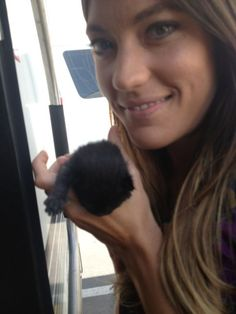 Jennifer Carpenter (Dexter) with a tiny kitten. She is amazing!