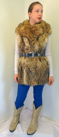 New Handmade Real Coyote Fox Fur Vest Jacket from by DakinisChoice