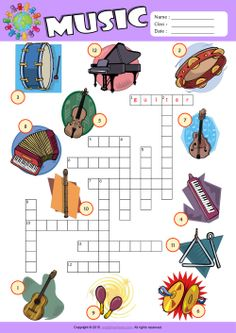 Musical Instruments ESL Printable Picture Dictionary, Vocabulary Matching Exercise, Word Search Puzzle, Crossword Puzzle Worksheets for Kids! Music Theory Worksheets, Vocabulary Worksheets, Worksheets For Kids, Food Vocabulary, Printable Worksheets, English Vocabulary, Music Education Activities, Kitty Party Games, Music Lessons For Kids