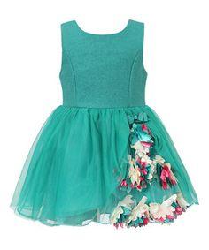 Look at this #zulilyfind! Green Floral Wool-Blend Babydoll Dress - Toddler & Girls by Richie House #zulilyfinds