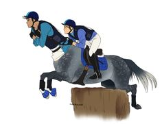 Fievel and Flier doing some cross country :V Their team colours go in blues, black and white!