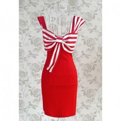 Sexy Charming Striped Bow Party Women's Summer Dress, RED, M in Vintage Dresses | DressLily.com