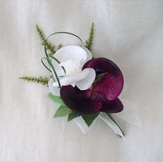Purple Orchids Bouquet | WEDDING FLOWERS - ORCHID BUTTONHOLE CORSAGE IN PURPLE AND WHITE