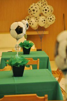 Centro de mesad e fiesta temática de copa de fútbol. #FiestaTematicaDeFutbol