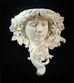 Art Nouveau Wall Pocket Sconce Lady Head
