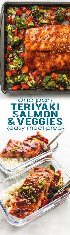 Easy and healthy ONE PAN Teriyaki Salmon & Vegetables is a tasty sheet pan dinner and perfect for simple meal prep! Easy and healthy ONE PAN Teriyaki Salmon & Vegetables is a tasty sheet pan dinner and perfect for simple meal prep! Easy Meal Prep, Healthy Meal Prep, Healthy Eating, Healthy Recipes, Cheap Recipes, Snack Recipes, Tasty Vegetarian Meals, Weekly Lunch Meal Prep, Simple Healthy Dinner Recipes