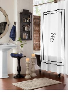 Monogrammed Shower Curtain   Monogrammed Bath Accessories In Black On White  Bring Refinement To