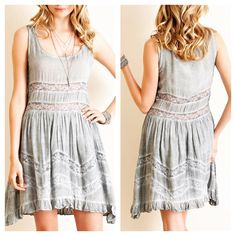 Dip dyed pleated dress featuring drop-side hem and floral tape lace. Gorgeous gray! .  www.shopartifactsgallery.com.