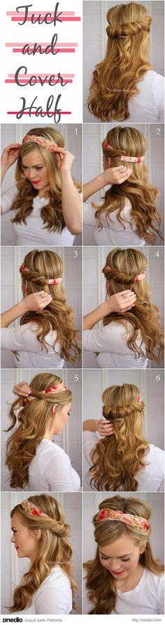 Buradaki gibi sıkı lastik taç kullanıp saçlarını içine doğru döndüre döndüre bu güzel görünümü elde edebilirsin.