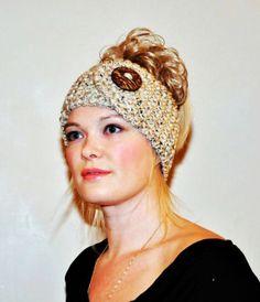 Headband Head wrap Ear warmer CHOOSE COLOR Warm Hair Band Button Oatmeal Beige Marble Wheat Acorn Eco Neutral Nature Gift