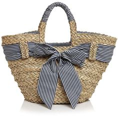 Filippo Catarzi Striped Bow Straw Tote (199.080 COP) ❤ liked on Polyvore featuring bags, handbags, tote bags, bow tote, stripe tote bag, straw tote, tote purses and straw purse
