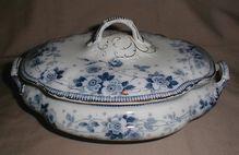 Lovely Flow Blue Vegetable Bowl w/ Lid Melba Ford & Sons 1890