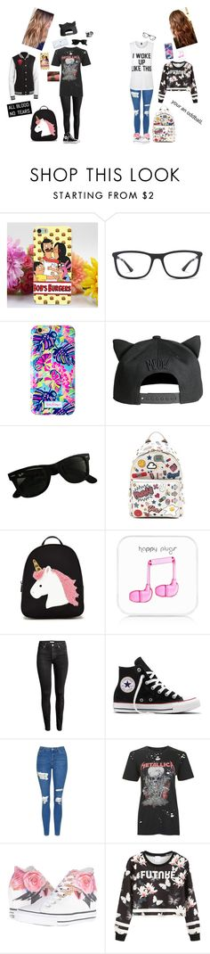 """""""Beckah Vi0let [TC] & Terra Benet [TT] (outfits) ((as a couple))"""" by donut-boi on Polyvore featuring Ray-Ban, Lilly Pulitzer, H&M, Anya Hindmarch, Forever 21, Happy Plugs, Converse, Topshop and Private Party"""