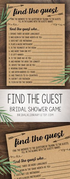 da975c1135 Find The Guest Game, Bridal Shower Games Printable, Bridal Shower Game  Idea, Bridal Shower Instant Download, Wedding Game, Kraft Paper Game