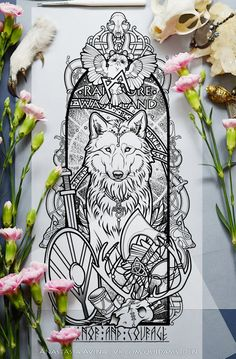 «Odin» | A2, rapidographs, black pastel. Odin's wolves Geri and Freki, a pair of ravens Huginn and Muninn, Yggdrasil, Odin's eye, norns, runes and northern sky. You can find me also ...