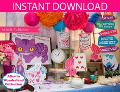 Alice in Wonderland printable https://www.etsy.com/listing/152464273/alice-in-wonderland-party-decorations