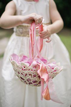 tiny crochet flower girl petal basket|calder clark designs|harwell photography