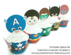 Superhero Cupcake Wrappers and Toppers- Printable Digital File - Party Decorations - Print and Cut at Home. $9.00, via Etsy.  HIGHLY RECOMMEND THE SELLER!