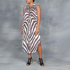 Mara Hoffman Zebra Midi Sleevelss Shirt Dress