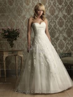 A-Line Sweetheart Flower Satin Chapel Train Wedding Dress at Millybridal.com