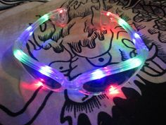 LED Sunglasses including batteries flashing hippie goa techno carneval party new