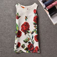 HOT 2016 Summer Baby Girl Dress Princess Butterfly Rose Flower Print Dresses For Girls Birthday Party Dress Kid Clothes 3-10Y(China (Mainland))