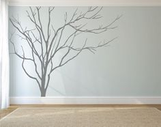 Vinyl Art Realistic Winter Tree Branch Stick On by DecaIisland