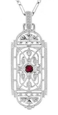 Art Deco Filigree Ruby Geometric Pendant Necklace in Sterling Silver - Item N150R