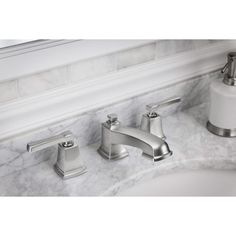 350--Voss brushed nickel one-handle high arc bathroom faucet ...