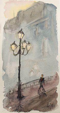 Postales de acuarela - Bonita farola. Watercolor Postcards - Nice streetlamp. HMZEN'14