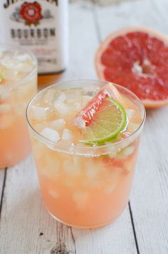 The perfect cocktail for grapefruit season! Grapefruit-Ginger Bourbon Sour is just the right amount of sweet and sour deliciousness!